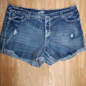 Reign distressed denim shorts